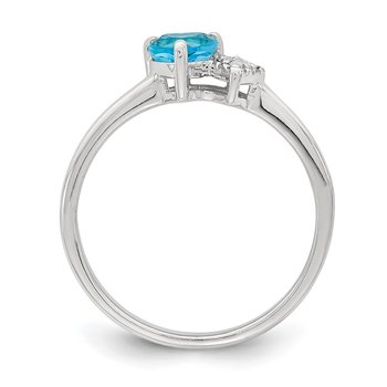 Sterling Silver Polished Blue Topaz and Diamond Ring