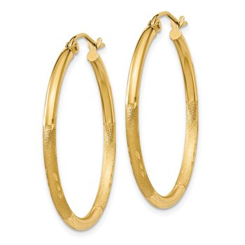 14k Satin & Diamond-cut 2mm Round Tube Hoop Earrings