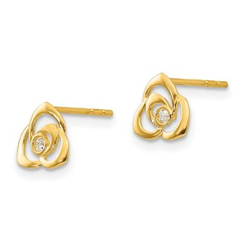 14k Madi K CZ Flower Post Earrings