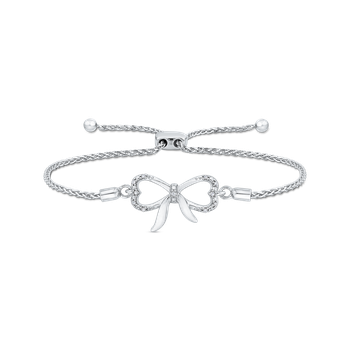.06 ct Sterling Silver Diamond Bolo Bracelet