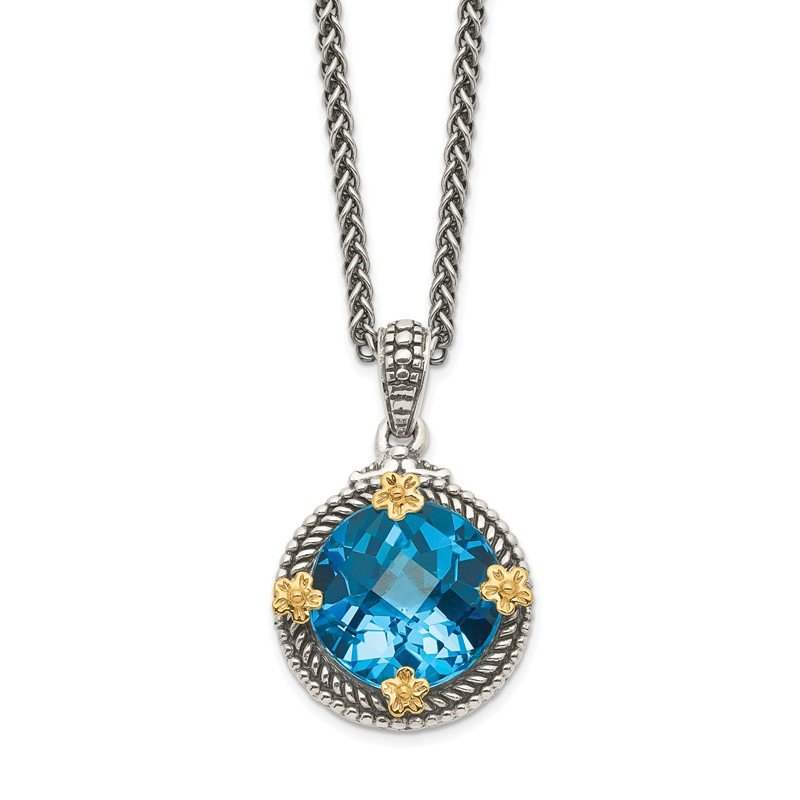 Quality Gold Sterling Silver w/14k Swiss Blue Topaz Necklace