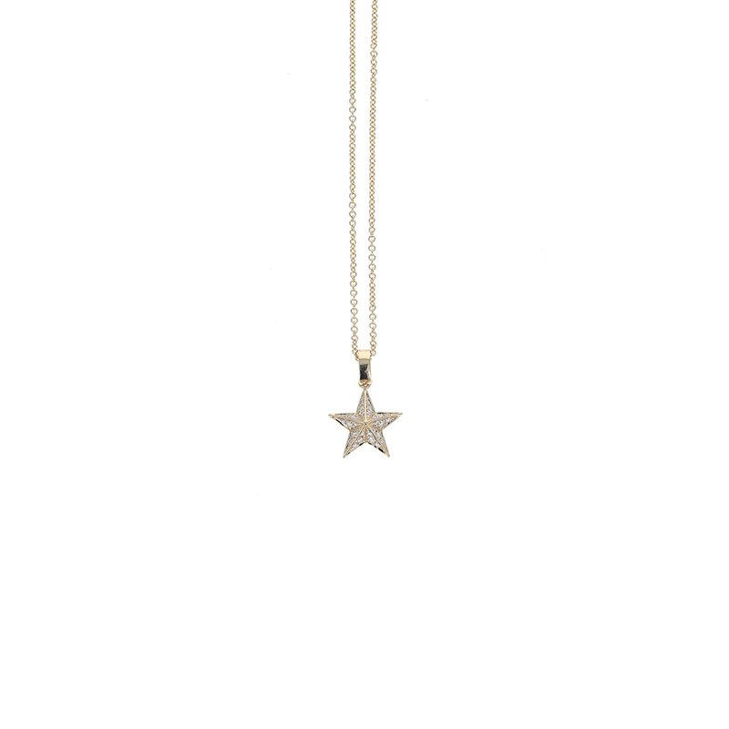 King Baby Gold Star Pendant W/ Pave Diamonds