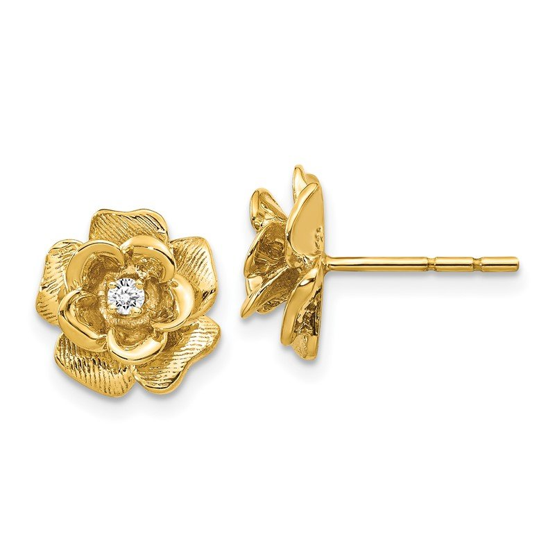 Quality Gold 14k Gold AA Diamond Flower Post Earrings