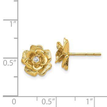 14k Gold AA Diamond Flower Post Earrings