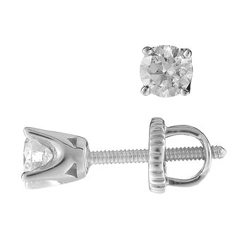 14K WG Stud Ear Rings TDW 0.40