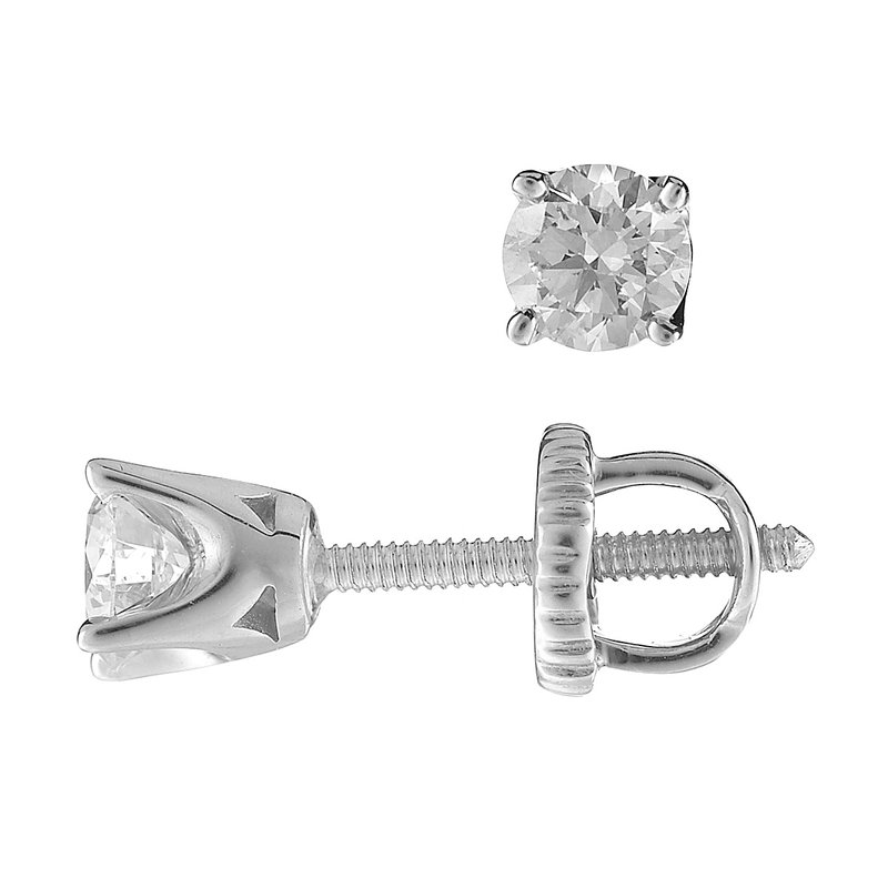 BB Impex 14K WG Stud Ear Rings TDW 0.40