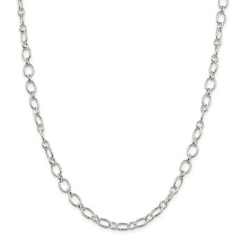 Sterling Silver 6.1mm Fancy Patterned Rolo Chain