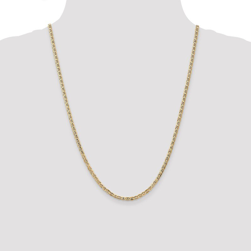 Quality Gold 10k 3mm Concave Anchor Chain