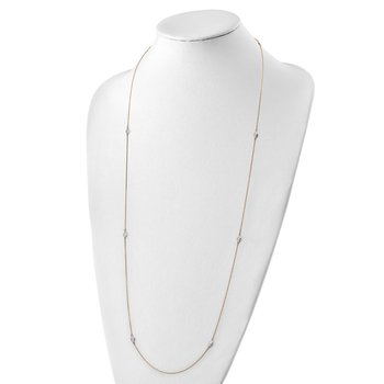 14k Two-tone Polished and Textured Circles Necklace