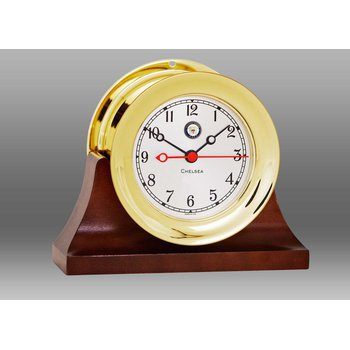 "US Navy 4 1/2"" Shipstrike Quartz Clock in Brass on Contemporary Base"