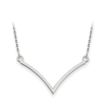 14k White Gold V Necklace