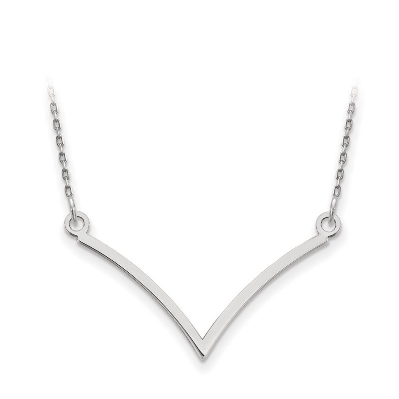 Quality Gold 14k White Gold V Necklace