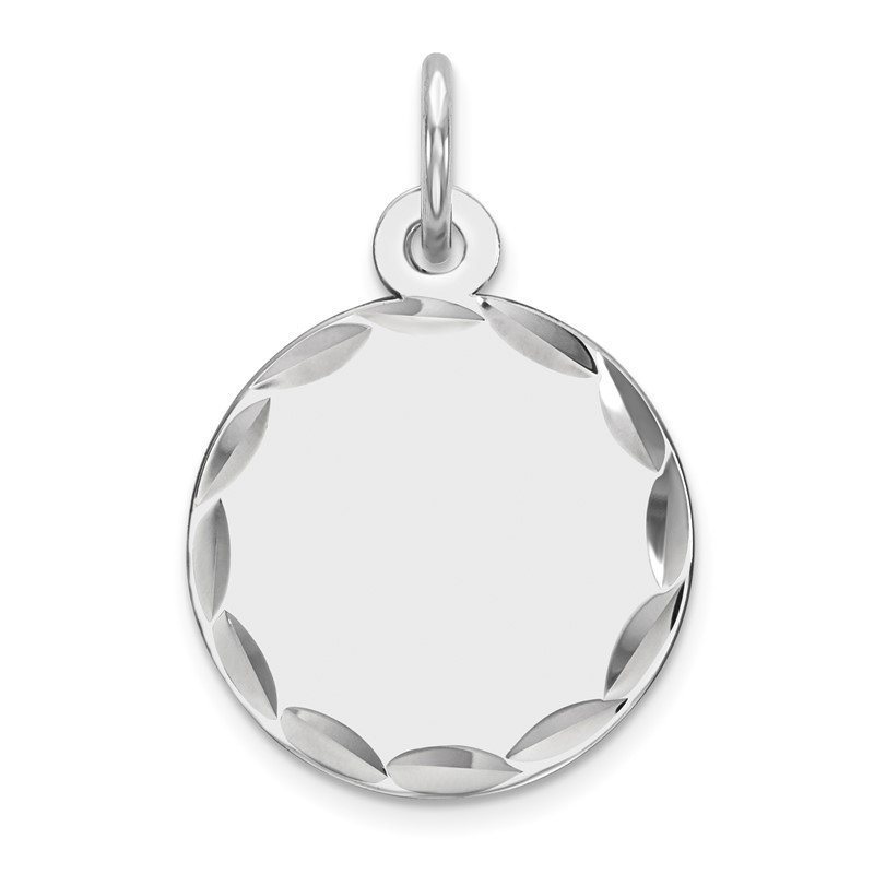 Quality Gold Sterling Silver Rhod-plated Eng. Rnd Polish Front/Satin Back Disc Charm