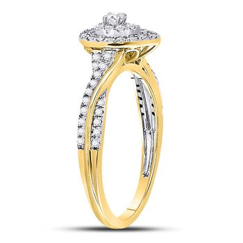 14kt Yellow Gold Womens Round Diamond Teardrop Cluster Bridal Wedding Engagement Ring 1/4 Cttw
