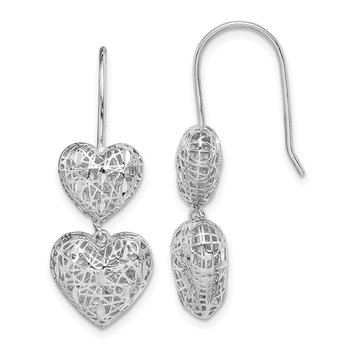 Sterling Silver Rhodium-plated Filigree Hearts Dangle Earrings