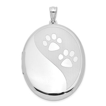 Sterling Silver Rhodium-plated Paw Prints Ash Holder Oval Locket