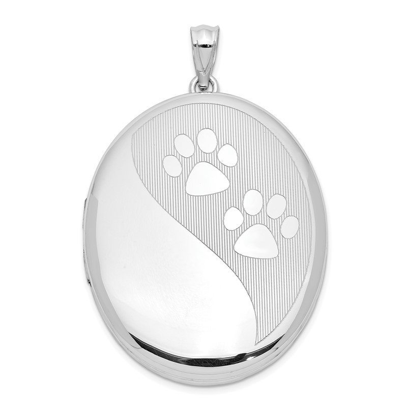 Quality Gold Sterling Silver Rhodium-plated Paw Prints Ash Holder Oval Locket