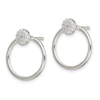 Sterling Silver Hoop Jacket w/ CZ Cluster Post Earrings