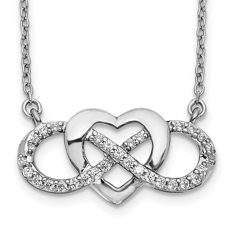 Quality Gold 14k White Gold Diamond Infinity Heart 18 inch Necklace