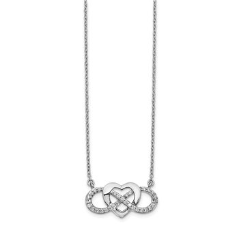14k White Gold Diamond Infinity Heart 18 inch Necklace