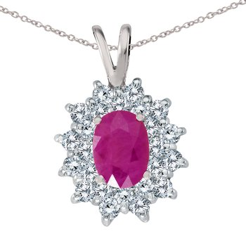 14k White Gold Ruby Oval Pendant with Diamonds