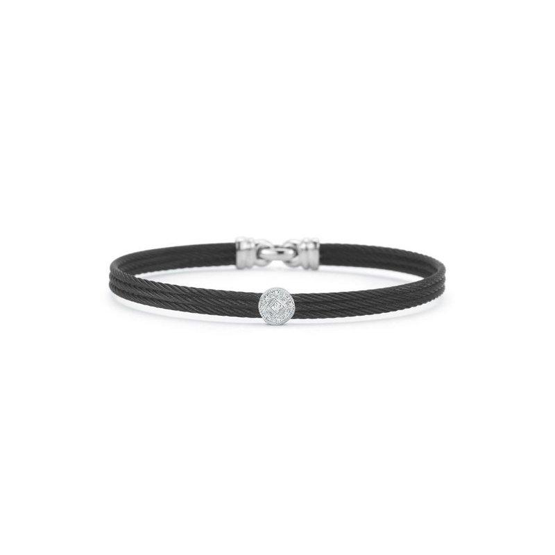 ALOR Black Cable Classic Stackable Bracelet with Single Round Station set in 18kt White Gold