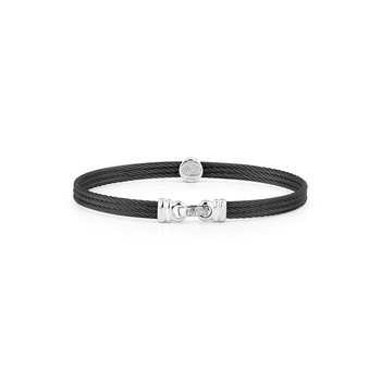 Black Cable Classic Stackable Bracelet with Single Round Station set in 18kt White Gold