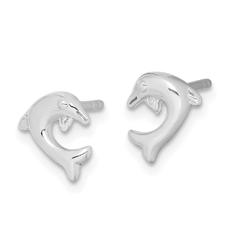 Quality Gold Sterling Silver Rhodium Plated Dolphin Post Earrings