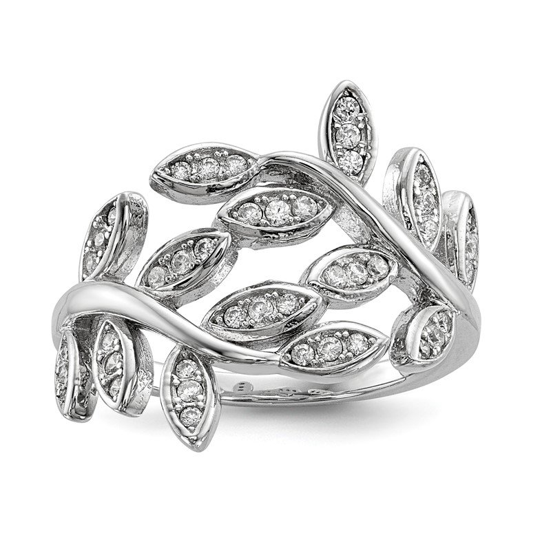 Quality Gold Sterling Silver Rhodium-plated Leave CZ Ring