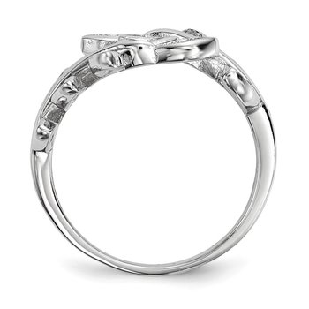 Sterling Silver Rhodium-plated Leave CZ Ring