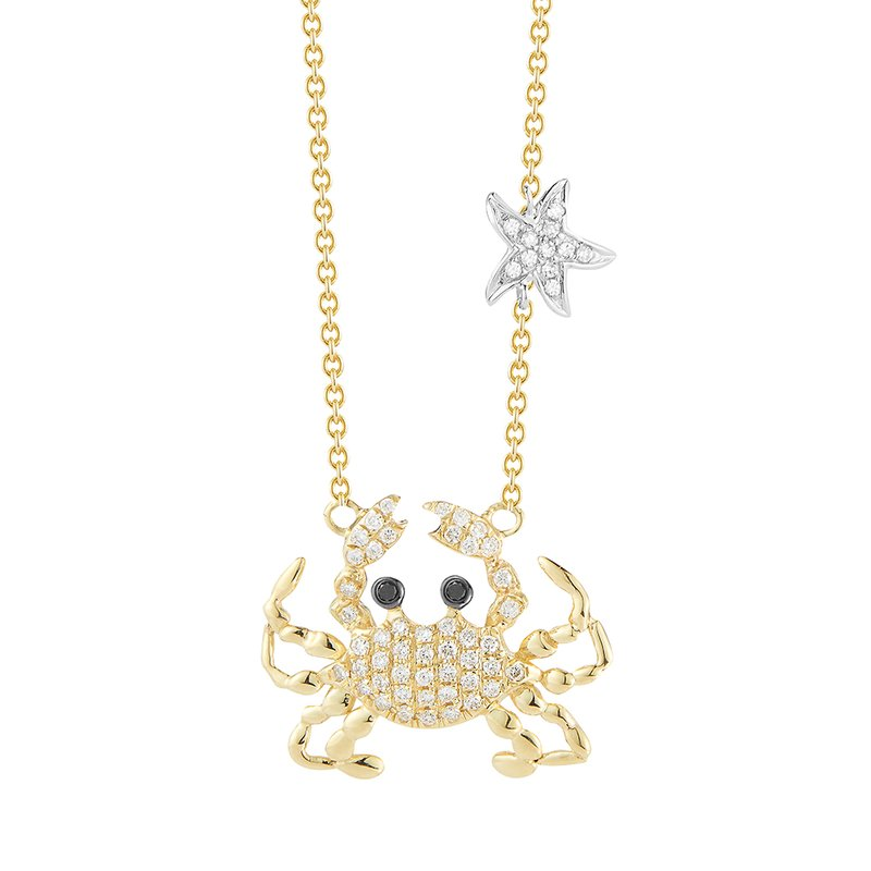 "Shula NY 14K crab necklace 58 Diamonds 0.28C & 2 black Diamonds 0.02C 3/4"" diameter"