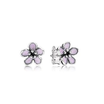 Cherry Blossom Stud Earrings, Pink Enamel