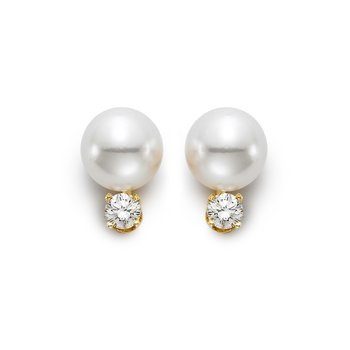 7-7.5MM Freshwater Pearl & Diamond Stud Earrings