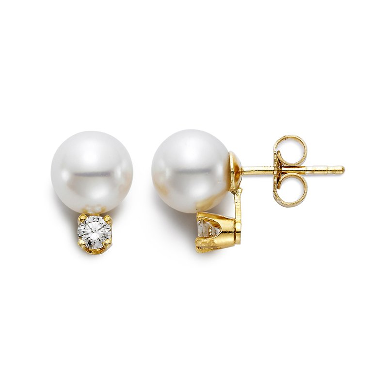 Mastoloni Pearls 7-7.5MM Freshwater Pearl & Diamond Stud Earrings