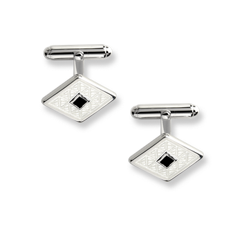 Sterling Silver Classic T-Bar Cufflinks-White. Black Onyx.
