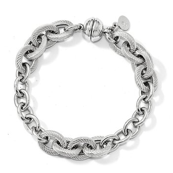 Leslie's Sterling Silver Polished Textured Link Magnetic Clasp Bracelet