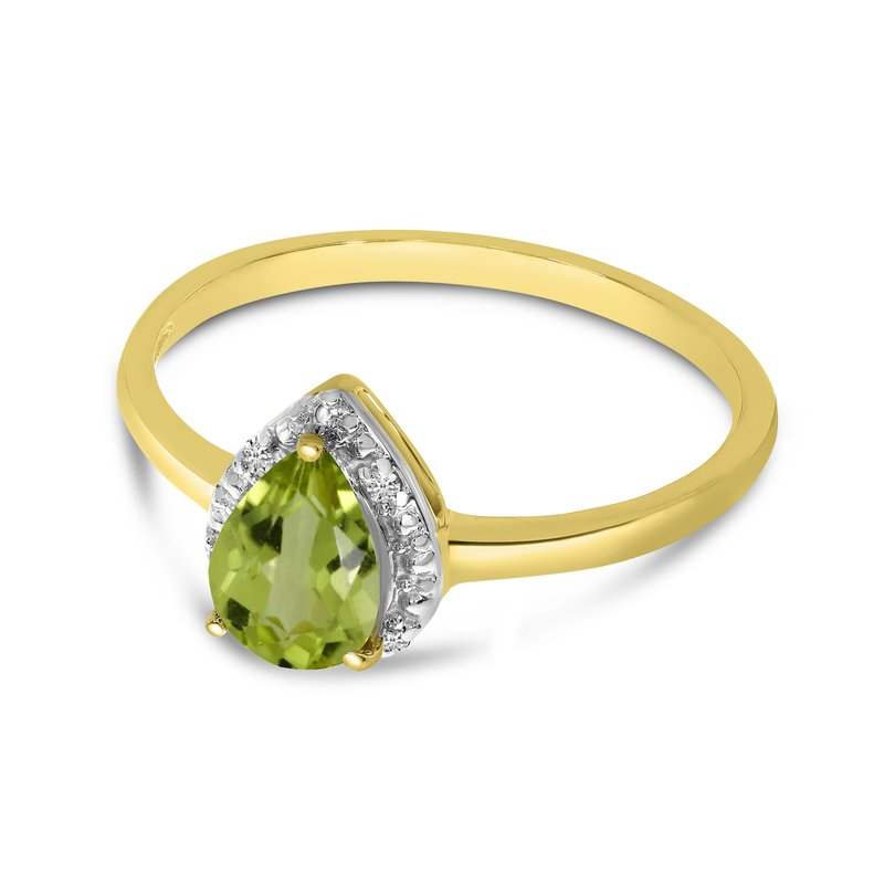 Color Merchants 10k Yellow Gold Pear Peridot And Diamond Ring