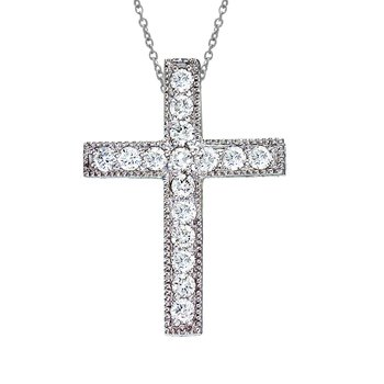 14K White Gold Large Scroll .50 Ct Diamond Cross Pendant