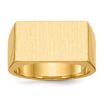 14k 10.5x18.0mm Closed Back Men's Signet Ring