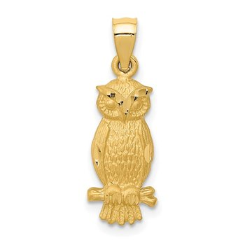 14k Satin Diamond-cut Owl Pendant