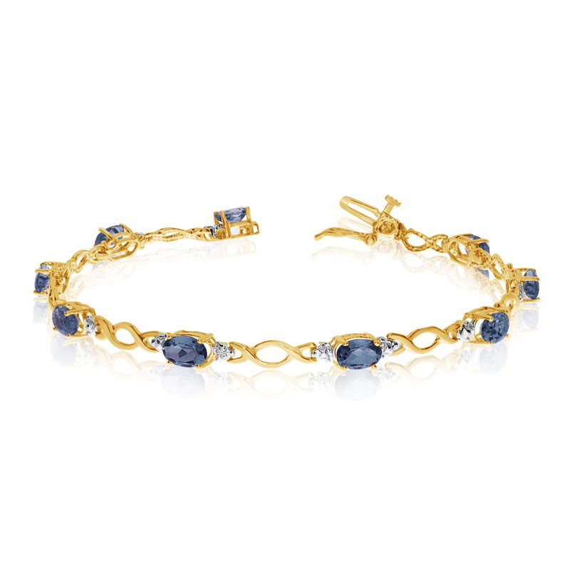 Color Merchants 14K Yellow Gold Oval Sapphire and Diamond Bracelet