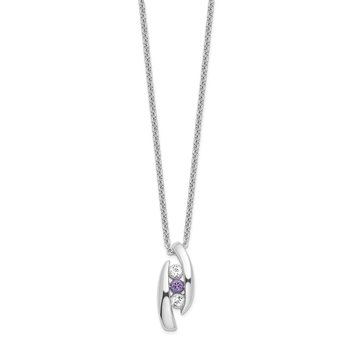 Sterling Silver Survivor Clear & Purple Swarovski Topaz Pillar of Strength