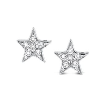 Diamond Star Earrings in 14k White Gold with 12 Diamonds weighing .12ct tw.