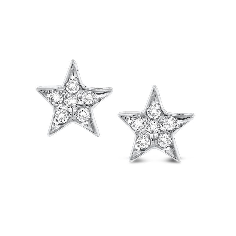 MAZZARESE Fashion Diamond Star Earrings in 14k White Gold with 12 Diamonds weighing .12ct tw.