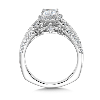 Diamond Halo Engagement Ring Mounting in 14K White Gold (0.51 ct. tw.)