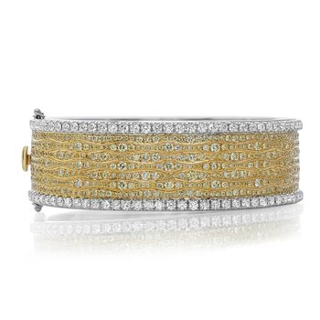 Two Tone Wavy Diamond Bangle