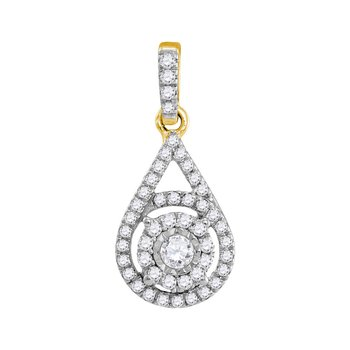 10kt Yellow Gold Womens Round Diamond Solitaire Circle Frame Pendant 1/4 Cttw