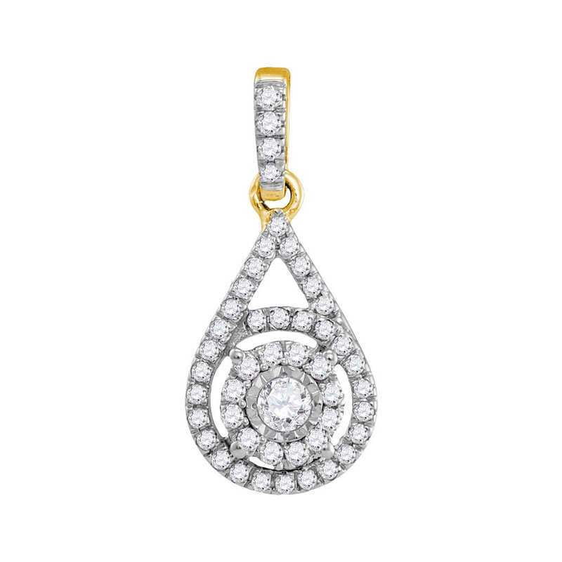 Kingdom Treasures 10kt Yellow Gold Womens Round Diamond Solitaire Circle Frame Pendant 1/4 Cttw