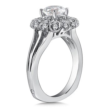 Diamond Halo Engagement Ring Mounting in 14K White Gold with Platinum Head (.27 ct. tw.)