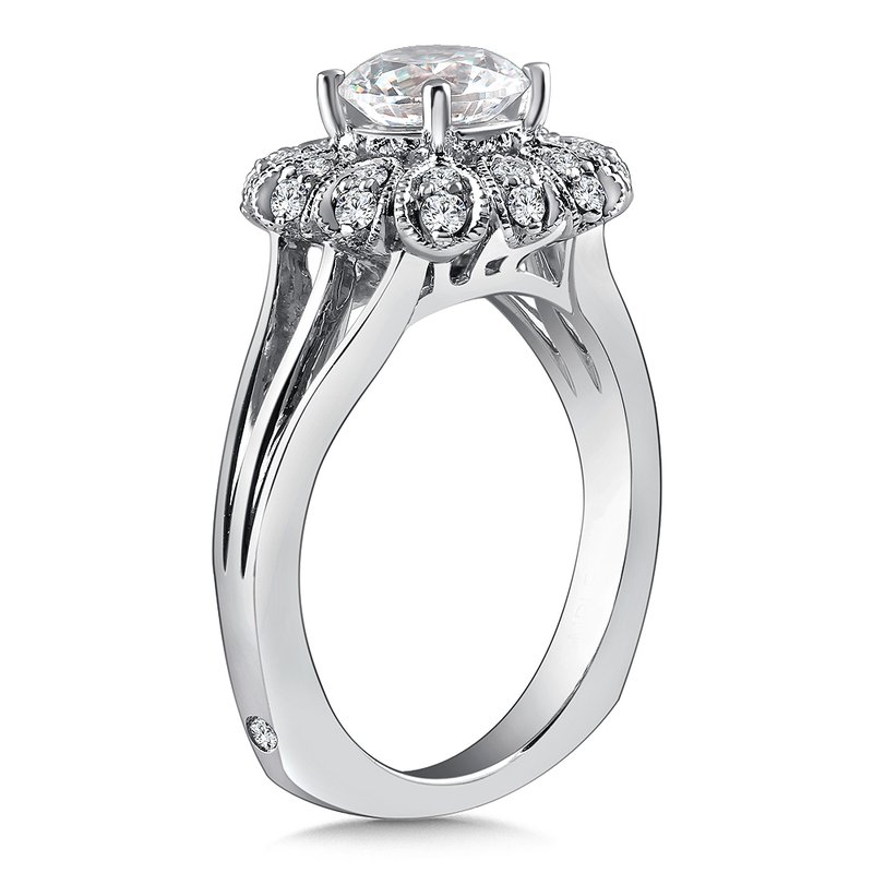 Caro74 Diamond Halo Engagement Ring Mounting in 14K White Gold with Platinum Head (.27 ct. tw.)